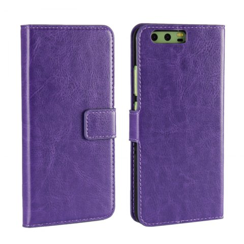 Pure Color Mad Horse Grain PU Leather Case for Huawei P10 Plus - PURPLE