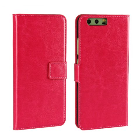 Pure Color Mad Horse Grain PU Leather Case for Huawei P10 Plus - ROSE RED