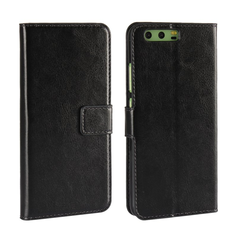 Pure Color Mad Horse Grain PU Leather Case for Huawei P10 Plus - BLACK