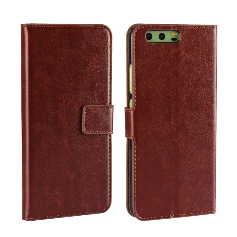 Pure Color Mad Horse Grain PU Leather Case for Huawei P10 Plus - BROWN