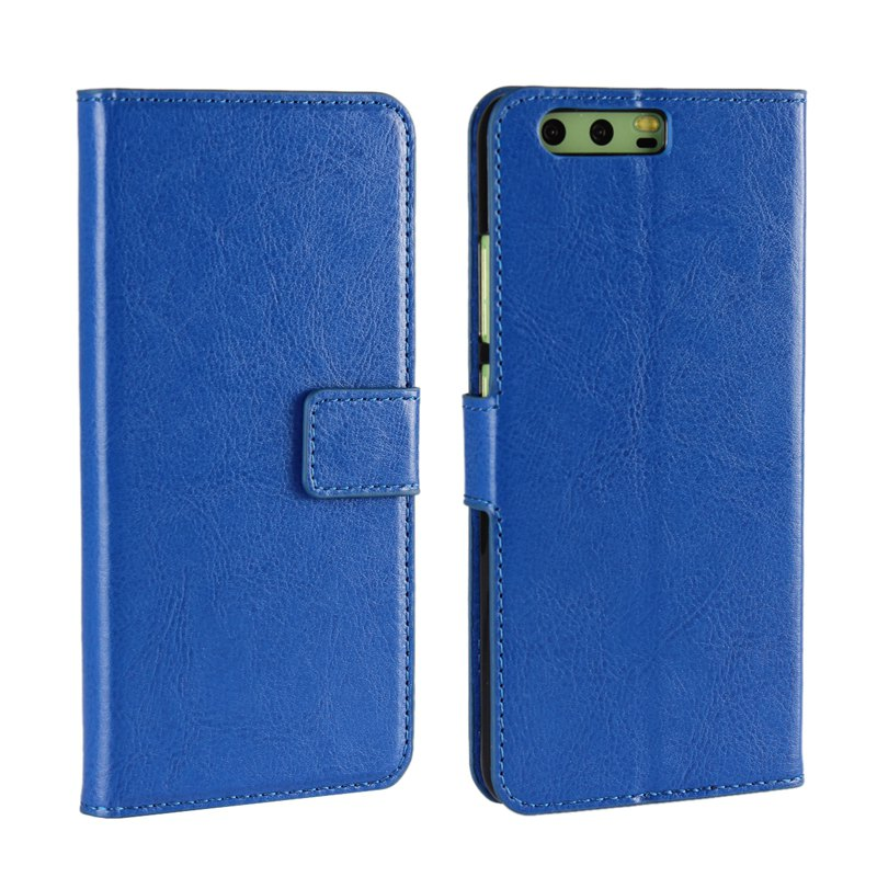 Pure Color Mad Horse Grain PU Leather Case for Huawei P10 Plus - BLUE