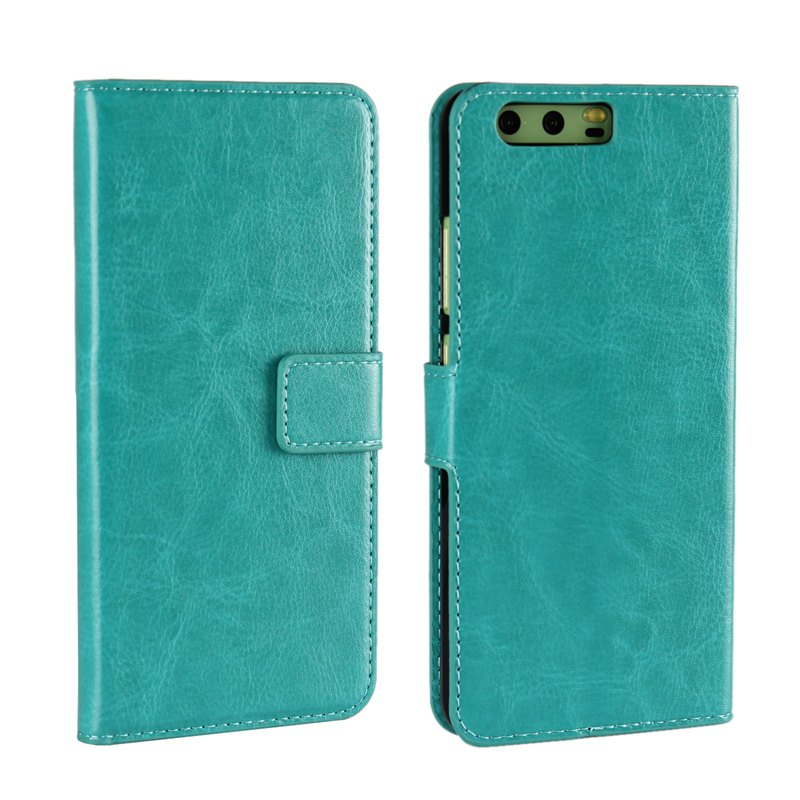 Pure Color Mad Horse Grain PU Leather Case for Huawei P10 Plus - GREEN