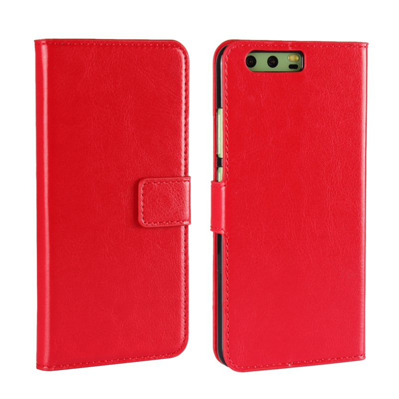 Pure Color Mad Horse Grain PU Leather Case for Huawei P10 Plus - RED