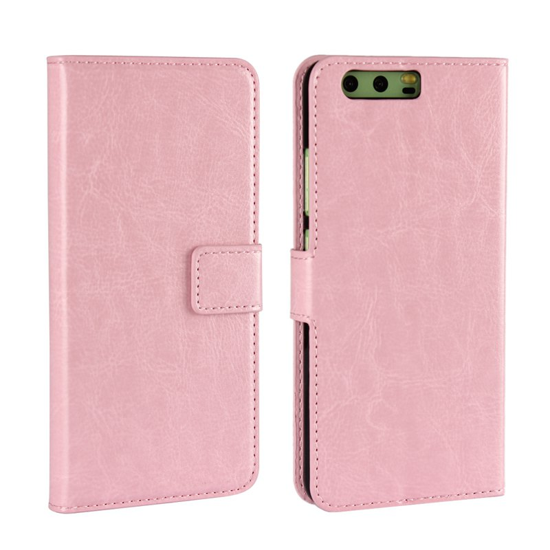 Pure Color Mad Horse Grain PU Leather Case for Huawei P10 Plus - PINK