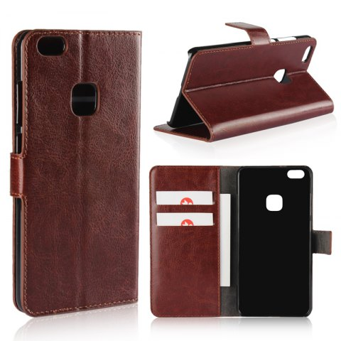 Pure Color Mad Horse Grain PU Leather Case for Huawei P10 Lite - BROWN