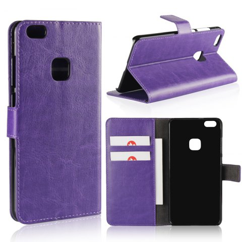 Pure Color Mad Horse Grain PU Leather Case for Huawei P10 Lite - PURPLE