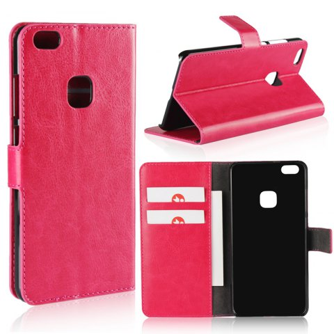 Pure Color Mad Horse Grain PU Leather Case for Huawei P10 Lite - ROSE RED
