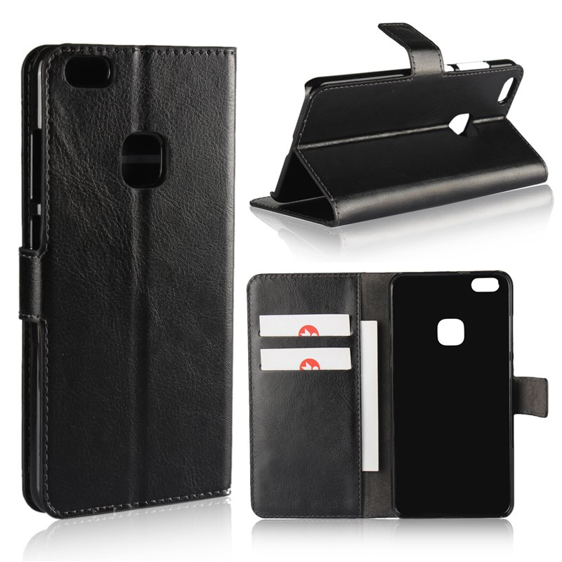 Pure Color Mad Horse Grain PU Leather Case for Huawei P10 Lite - BLACK