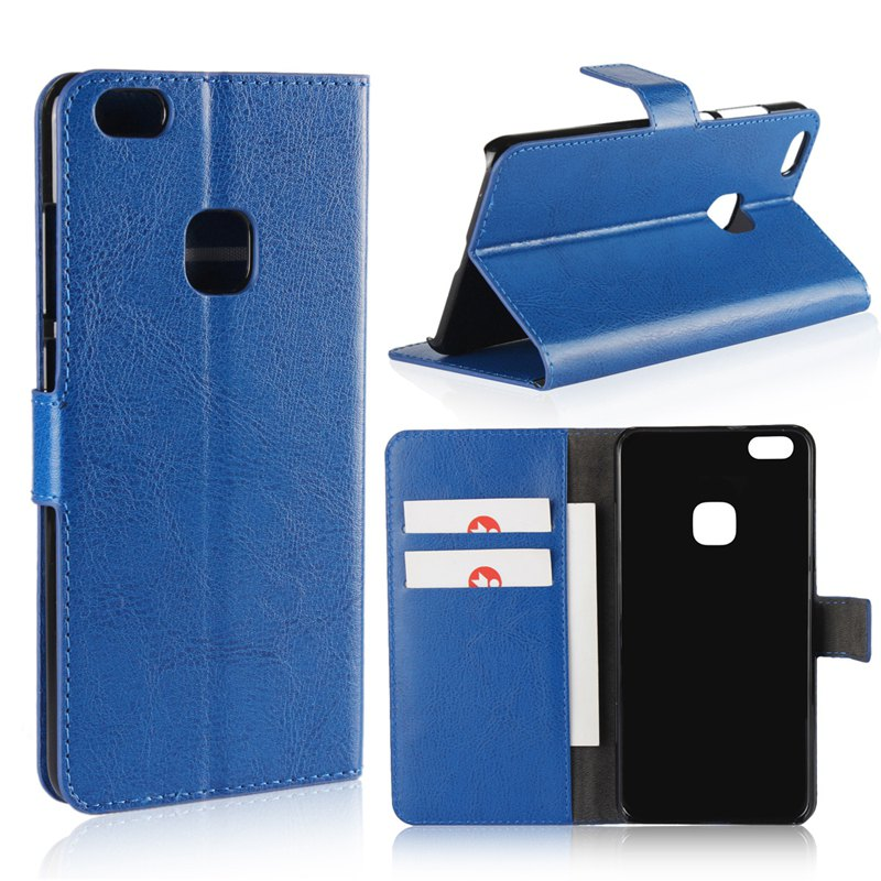 Pure Color Mad Horse Grain PU Leather Case for Huawei P10 Lite - BLUE