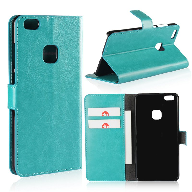 Pure Color Mad Horse Grain PU Leather Case for Huawei P10 Lite - GREEN