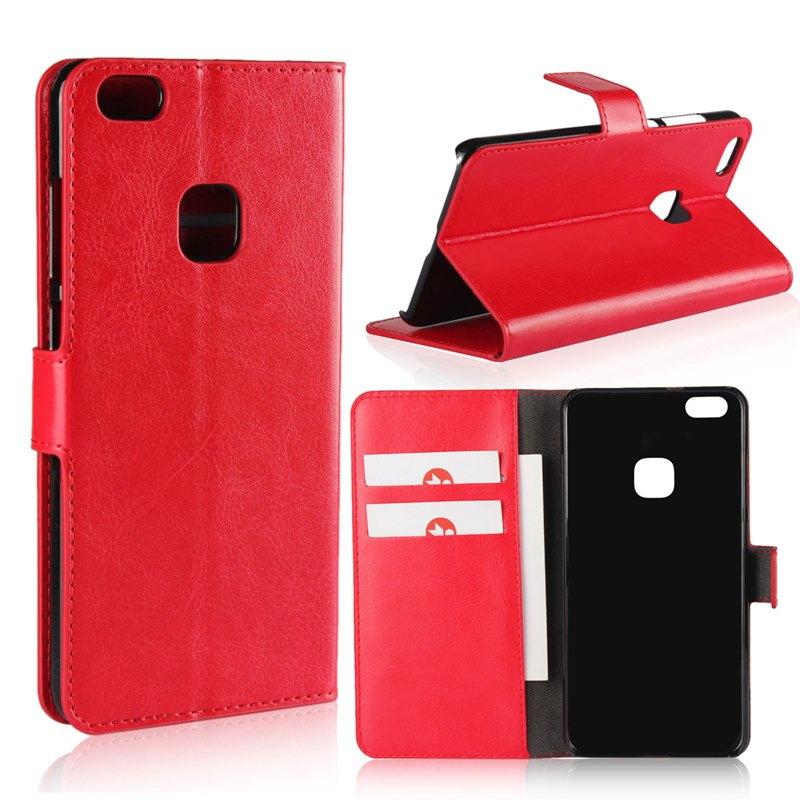 Pure Color Mad Horse Grain PU Leather Case for Huawei P10 Lite - RED
