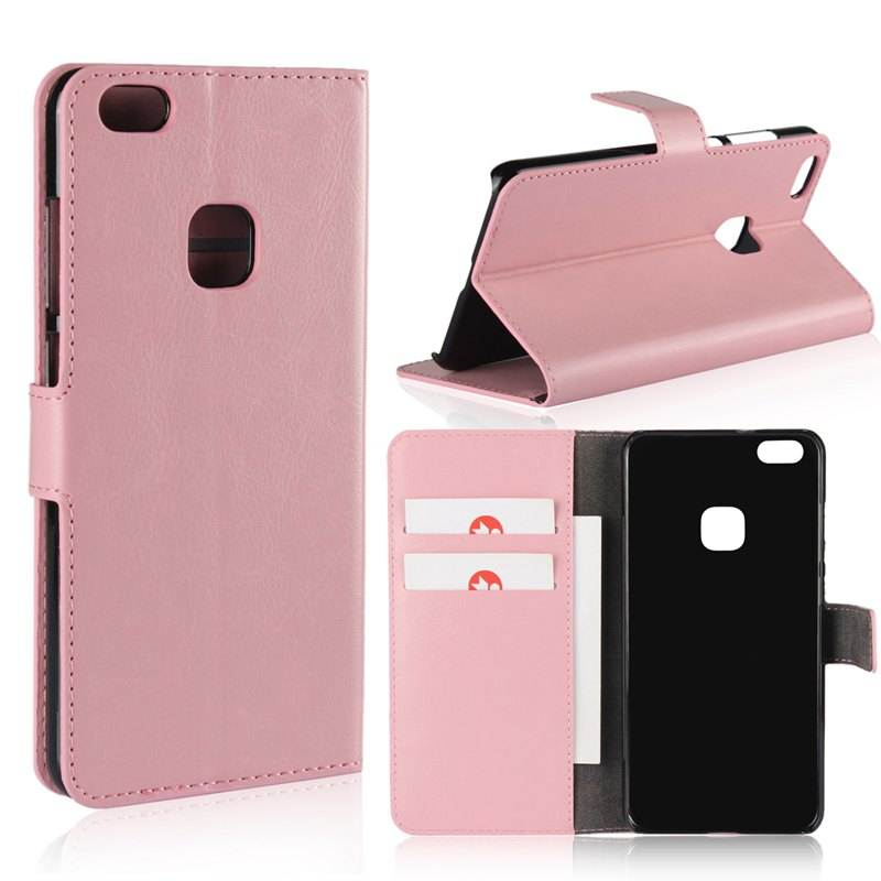 Pure Color Mad Horse Grain PU Leather Case for Huawei P10 Lite - PINK