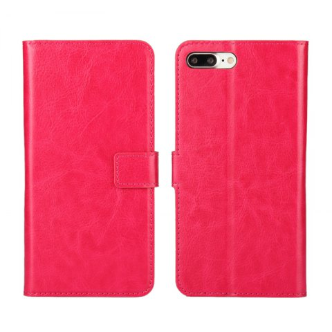 Pure Color Mad Horse Grain PU Leather Case for iPhone 7 Plus / 8 Plus - ROSE RED