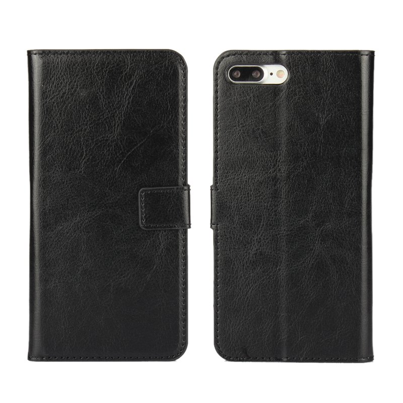 Pure Color Mad Horse Grain PU Leather Case for iPhone 7 Plus / 8 Plus - BLACK