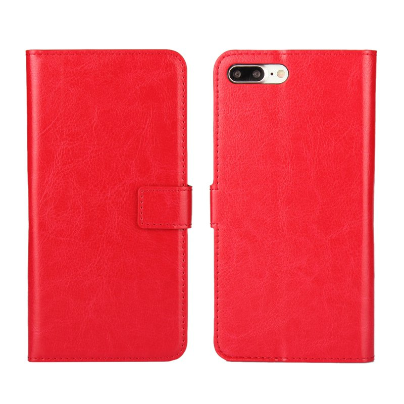 Pure Color Mad Horse Grain PU Leather Case for iPhone 7 Plus / 8 Plus - RED