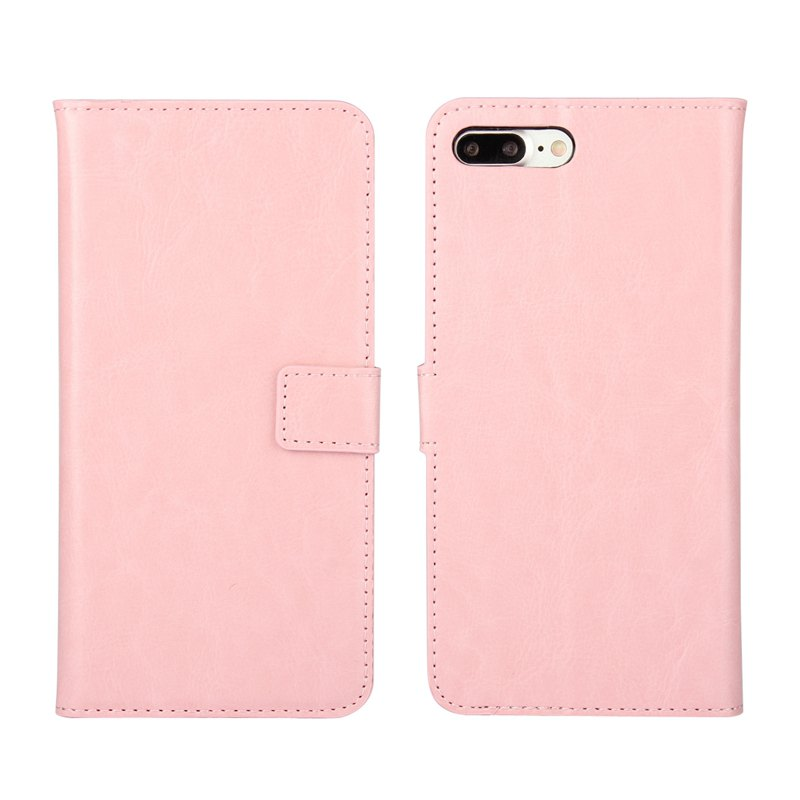 Pure Color Mad Horse Grain PU Leather Case for iPhone 7 Plus / 8 Plus - PINK