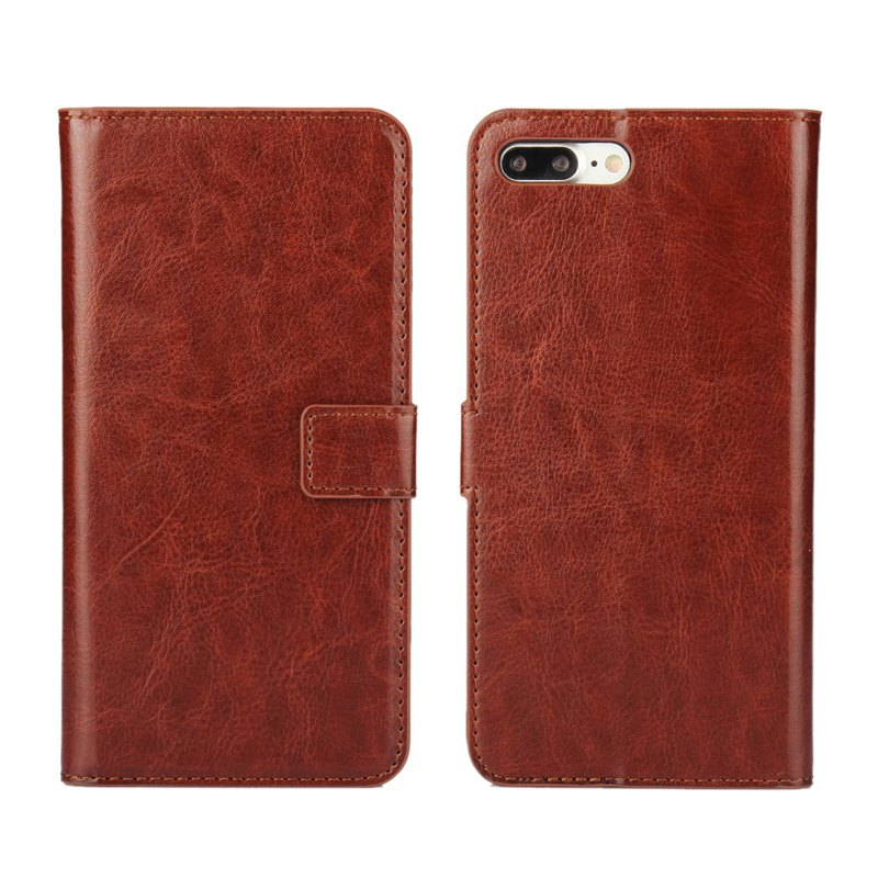 Pure Color Mad Horse Grain PU Leather Case for iPhone 7 Plus / 8 Plus - BROWN