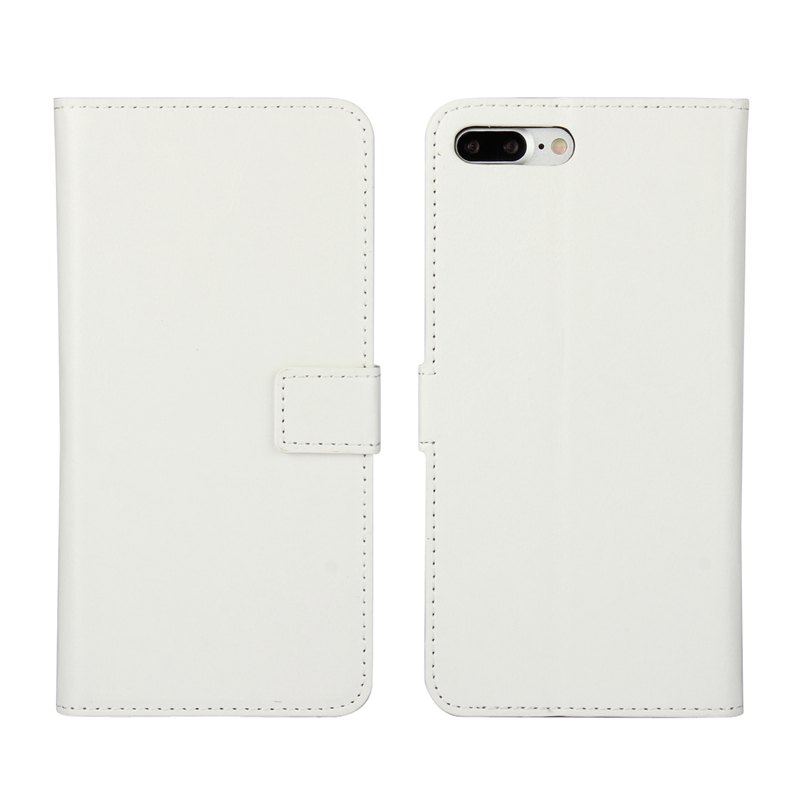Pure Color Mad Horse Grain PU Leather Case for iPhone 7 Plus / 8 Plus - WHITE