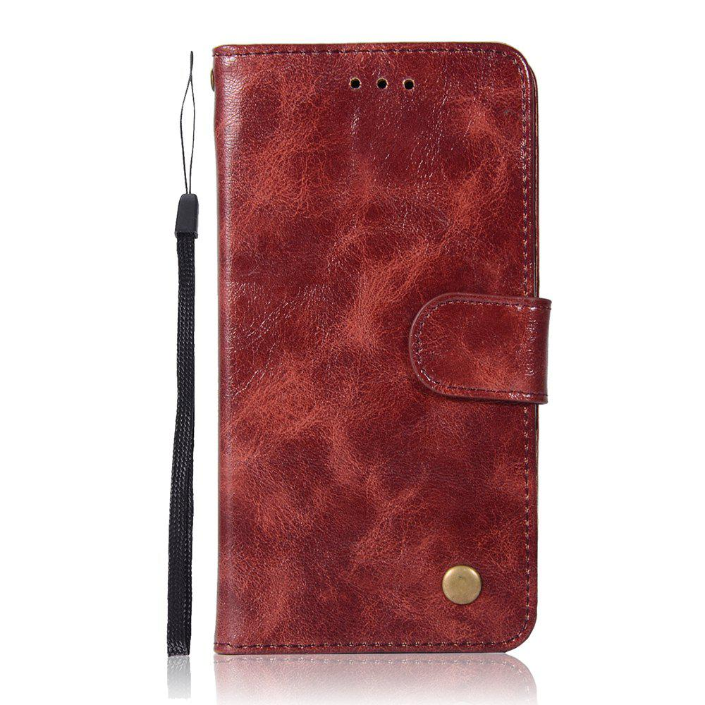 Upscale Retro Pattern Flip PU Leather Wallet Case for LG G6 - WINE RED