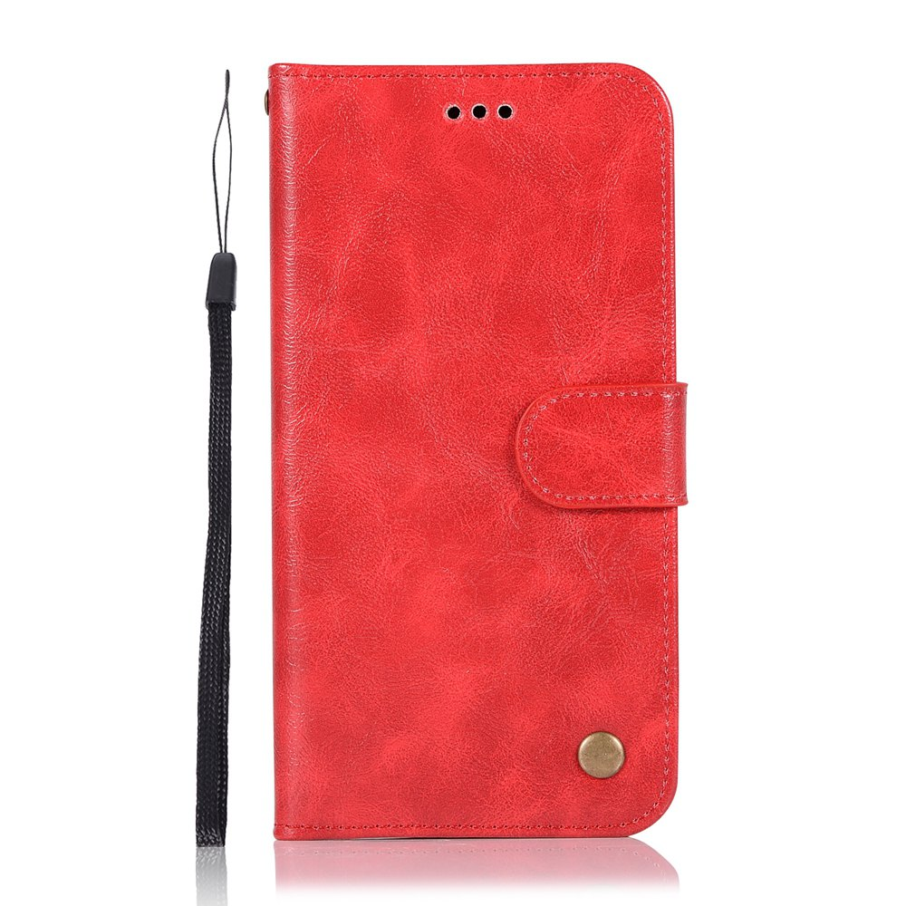 Upscale Retro Pattern Flip PU Leather Wallet Case for Moto Z2 Play - RED