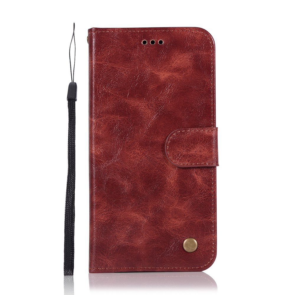 Upscale Retro Pattern Flip PU Leather Wallet Case for Moto Z2 Play - WINE RED