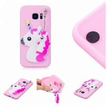 3D Cute Candy Pendant Pattern Silicone Soft Tpu Back Case for Samsung Galaxy S7 - PAPAYA