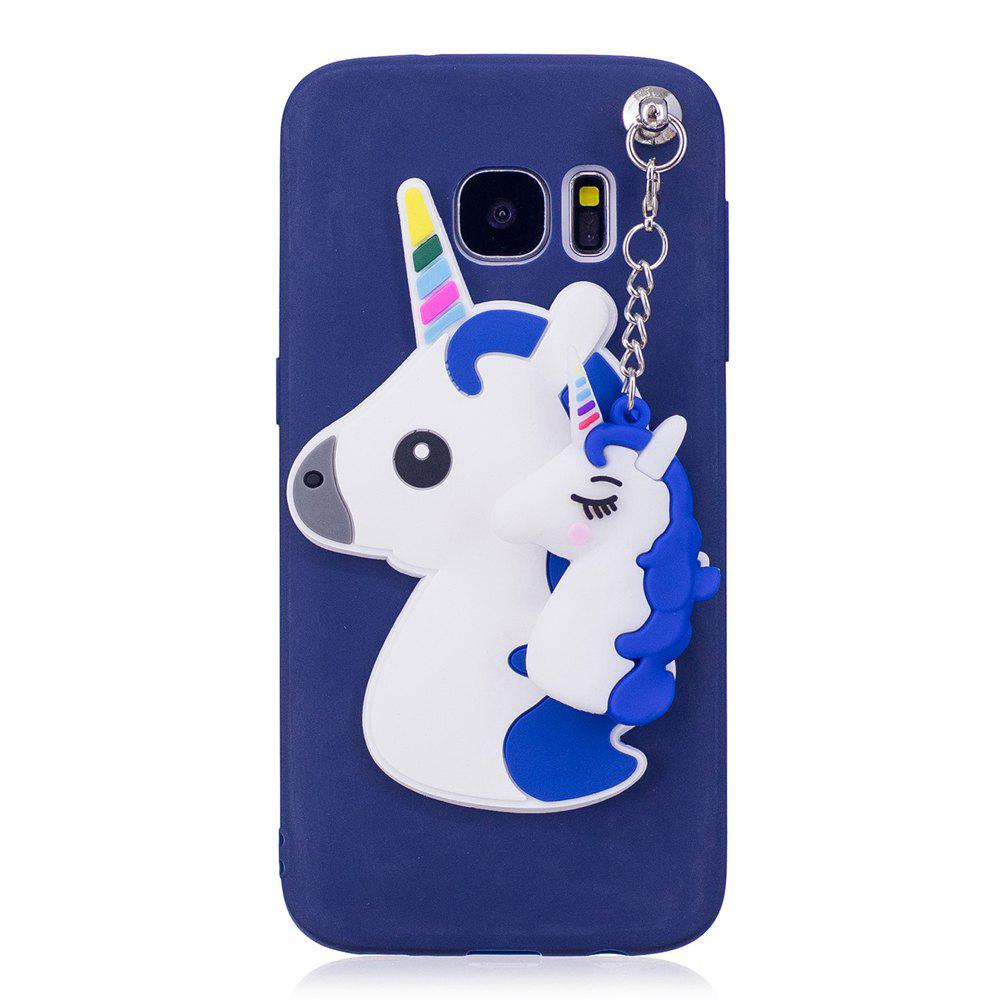 3D Cute Candy Pendant Pattern Silicone Soft Tpu Back Case for Samsung Galaxy S7 - BLUE