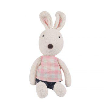 30 CM Grid Cloth Rabbit Plush Toy Doll - WHITE WHITE