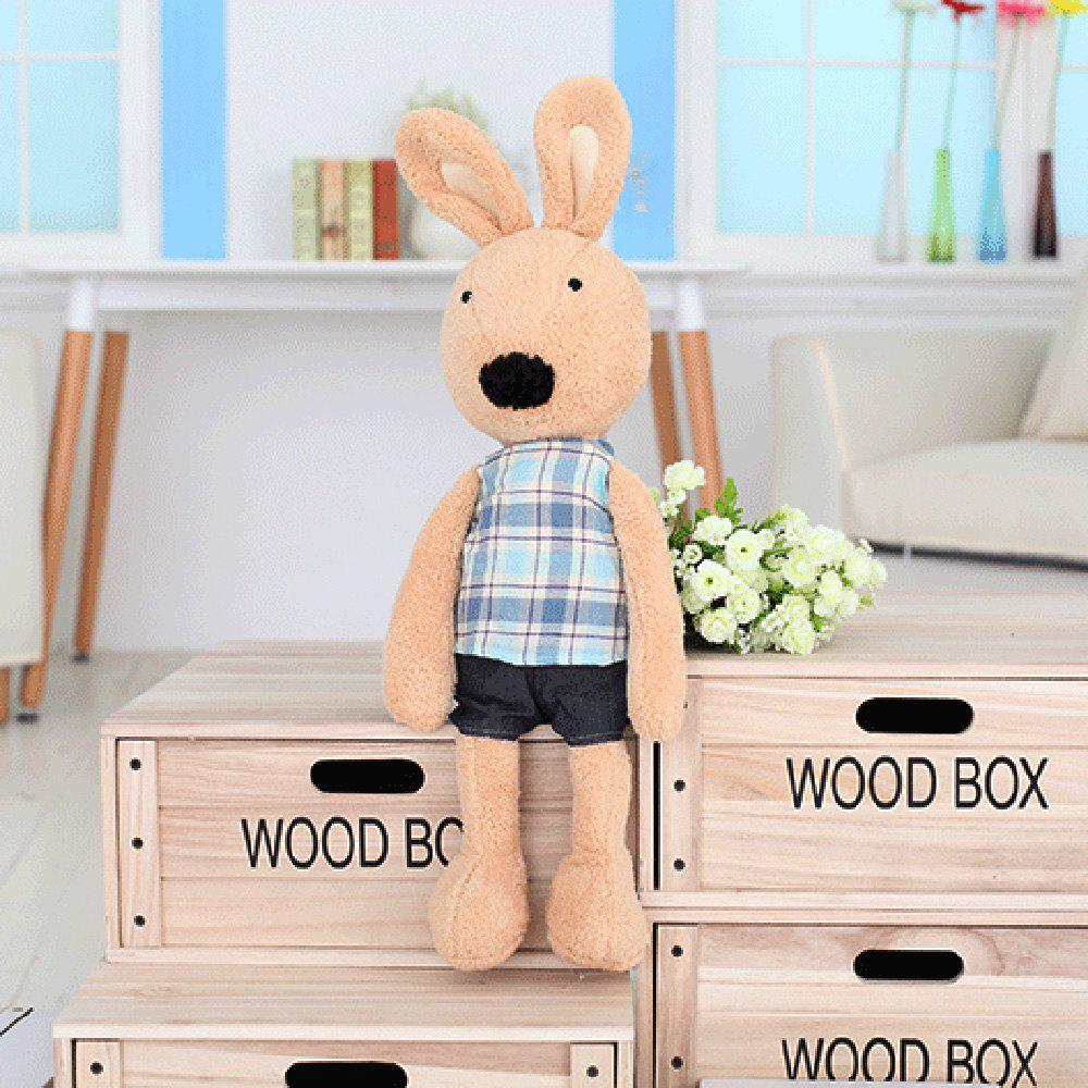 30 CM Grid Cloth Rabbit Plush Toy Doll - BROWN