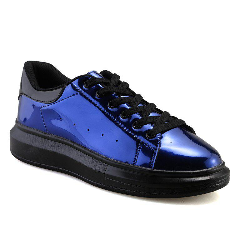 Autumn New Flat Bottom Round Head Leather Shoes College Wind Girl Winter Tide Students - BLUE 39
