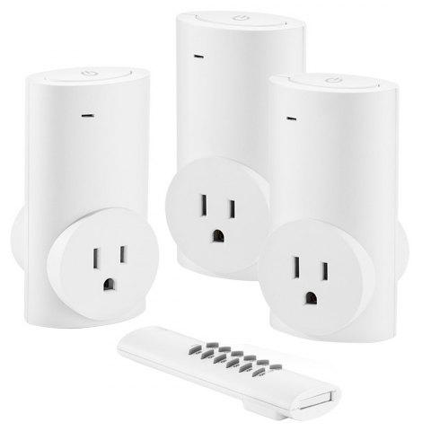 Single Remote Control Three Sockets Wireless Switch Socket White  Europe Standard - WHITE EU PLUG