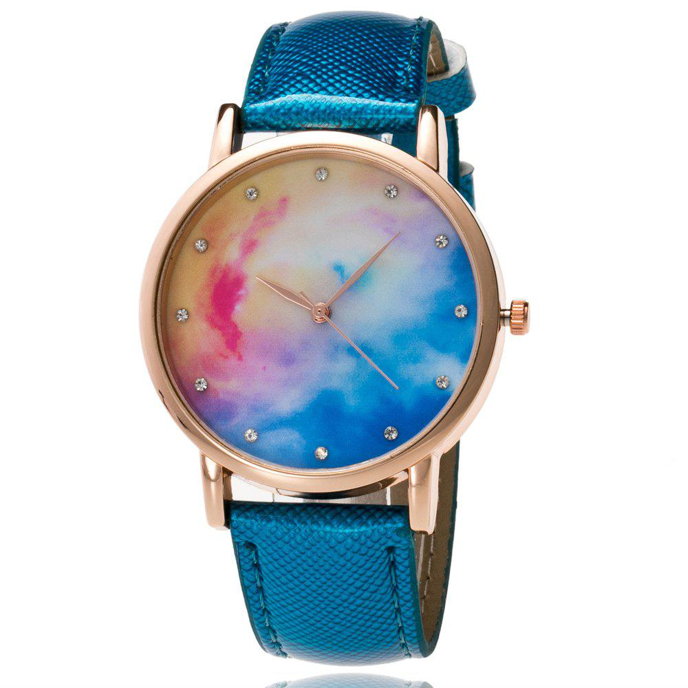ZhouLianFa fashion Crystal Diamond-Studded Quartz Watch - BLUE