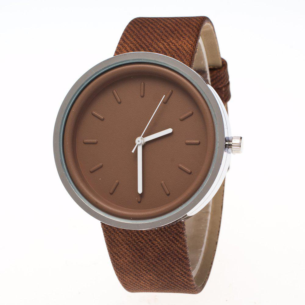 ZhouLianFa New Fashion Personality Denim Canvas Luxury Retro Quartz Watch - COFFEE