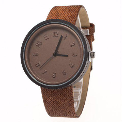 ZhouLianFa New Fashion Denim Retro Quartz Watch - COFFEE