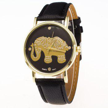 ZhouLianFa New Gold Elephant Fashion Trend Lai Chi Pattern Belt Retro Quartz Watch - BLACK BLACK