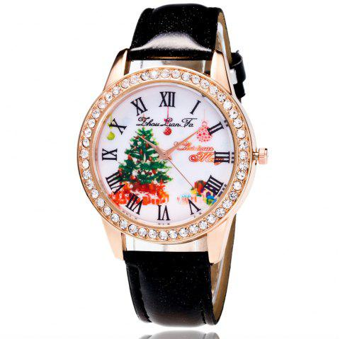 zhoulianfa new trend of leisure outdoor crystal pattern christmas tree ladies quartz watch black - Watch Black Christmas