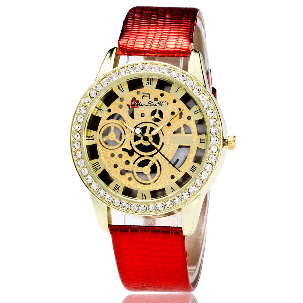 ZhouLianFa Casual Fashion Crocodile Pattern Leather Strap Diamond Luxury Retro Hollow Quartz Watch - RED