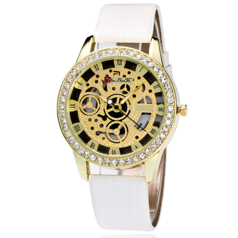 ZhouLianFa Casual Fashion Crocodile Pattern Leather Strap Diamond Luxury Retro Hollow Quartz Watch - WHITE