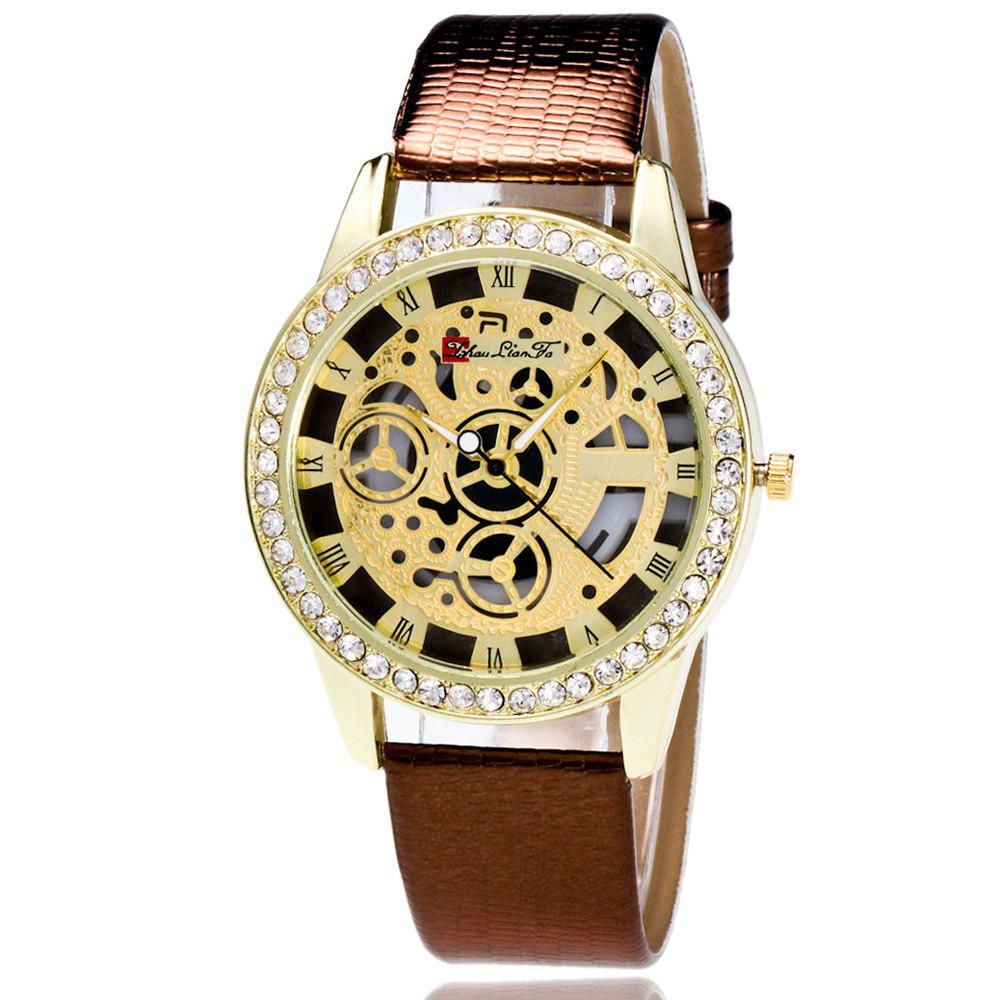 ZhouLianFa Casual Fashion Crocodile Pattern Leather Strap Diamond Luxury Retro Hollow Quartz Watch - COFFEE
