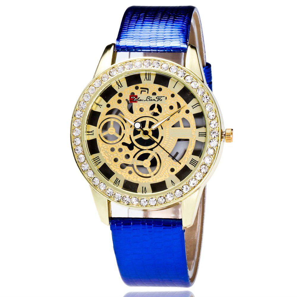 ZhouLianFa Casual Fashion Crocodile Pattern Leather Strap Diamond Luxury Retro Hollow Quartz Watch - BLUE