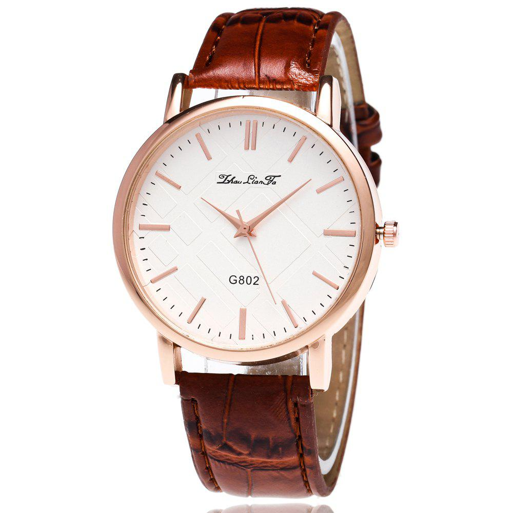 ZhouLianFa Leisure Fashion Business Luxury Brand Fashion Slub Quartz Watch - COFFEE