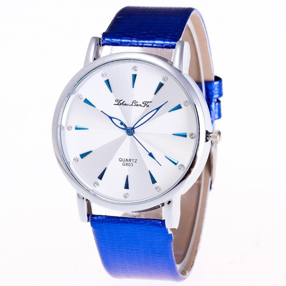 ZhouLianFa Casual Fashion Business Luxury Brand Fashion Crocodile Pattern Leather Strap Quartz Watch - BLUE