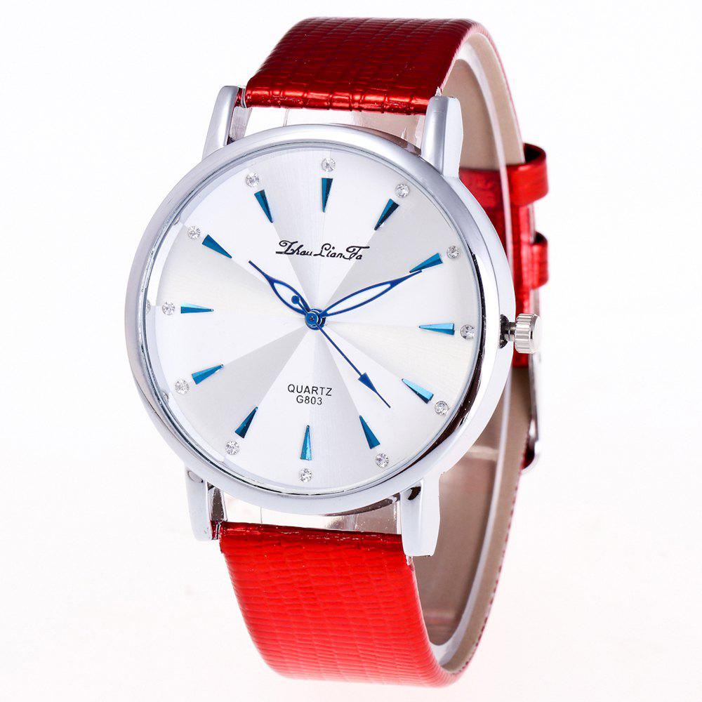 ZhouLianFa Casual Fashion Business Luxury Brand Fashion Crocodile Pattern Leather Strap Quartz Watch - RED