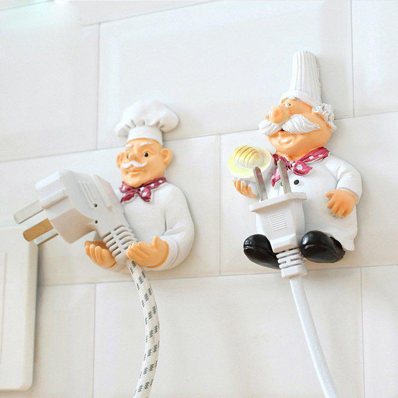 Cartoon Strong Power Socket Storage Rack Hook Key Holder Rack Strong Stick Wall Plug Cute Outlet Power Cord Hanger Organizer - WHITE