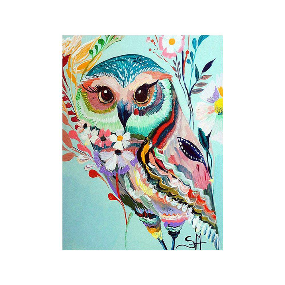 Dessin hibou coloré tirage au sort dessin au diamant - multicolorcolore