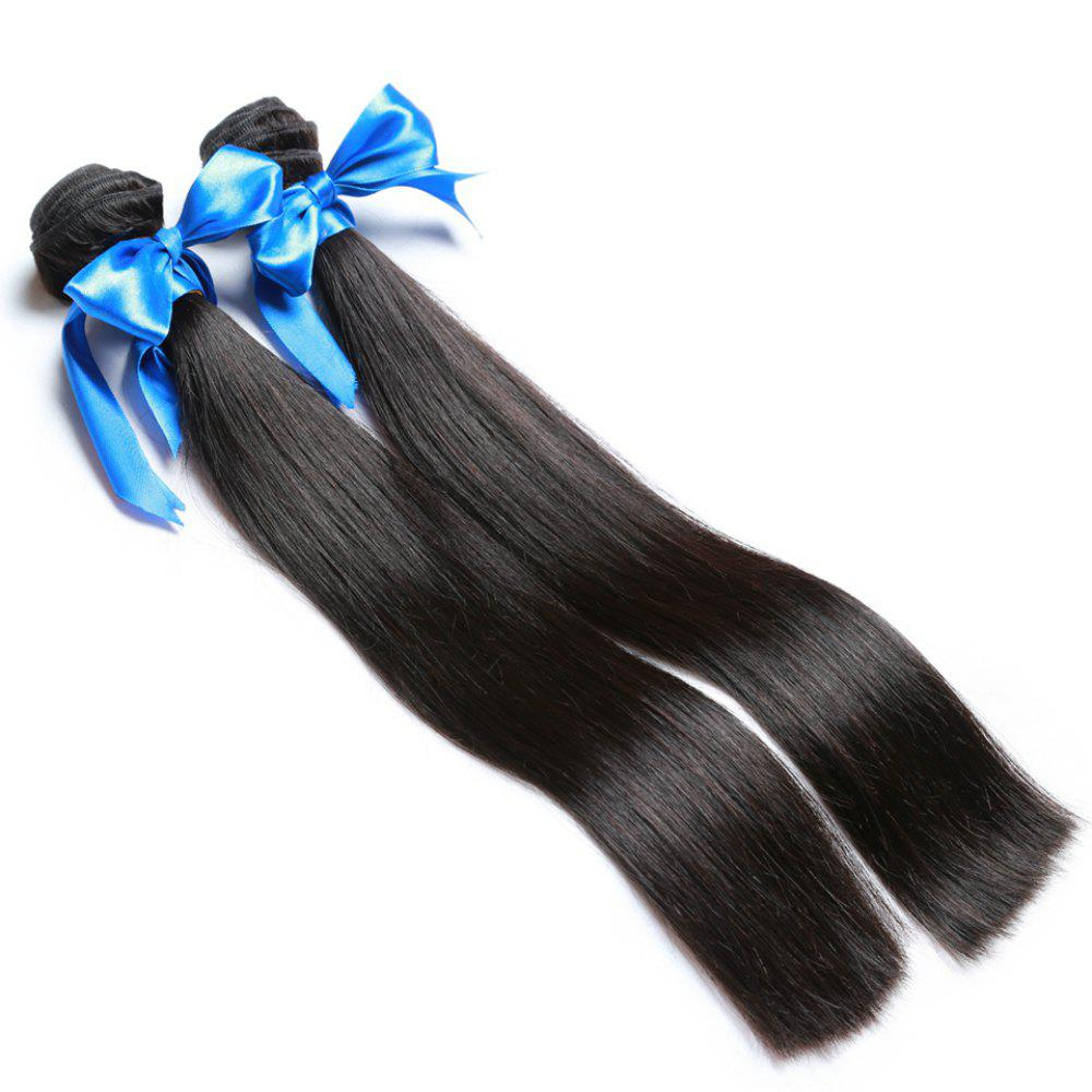 2 Bundle Unprocessed Virgin Indian Straight Human Hair Weaves - Natural Black - NATURAL BLACK 18INCH*20INCH