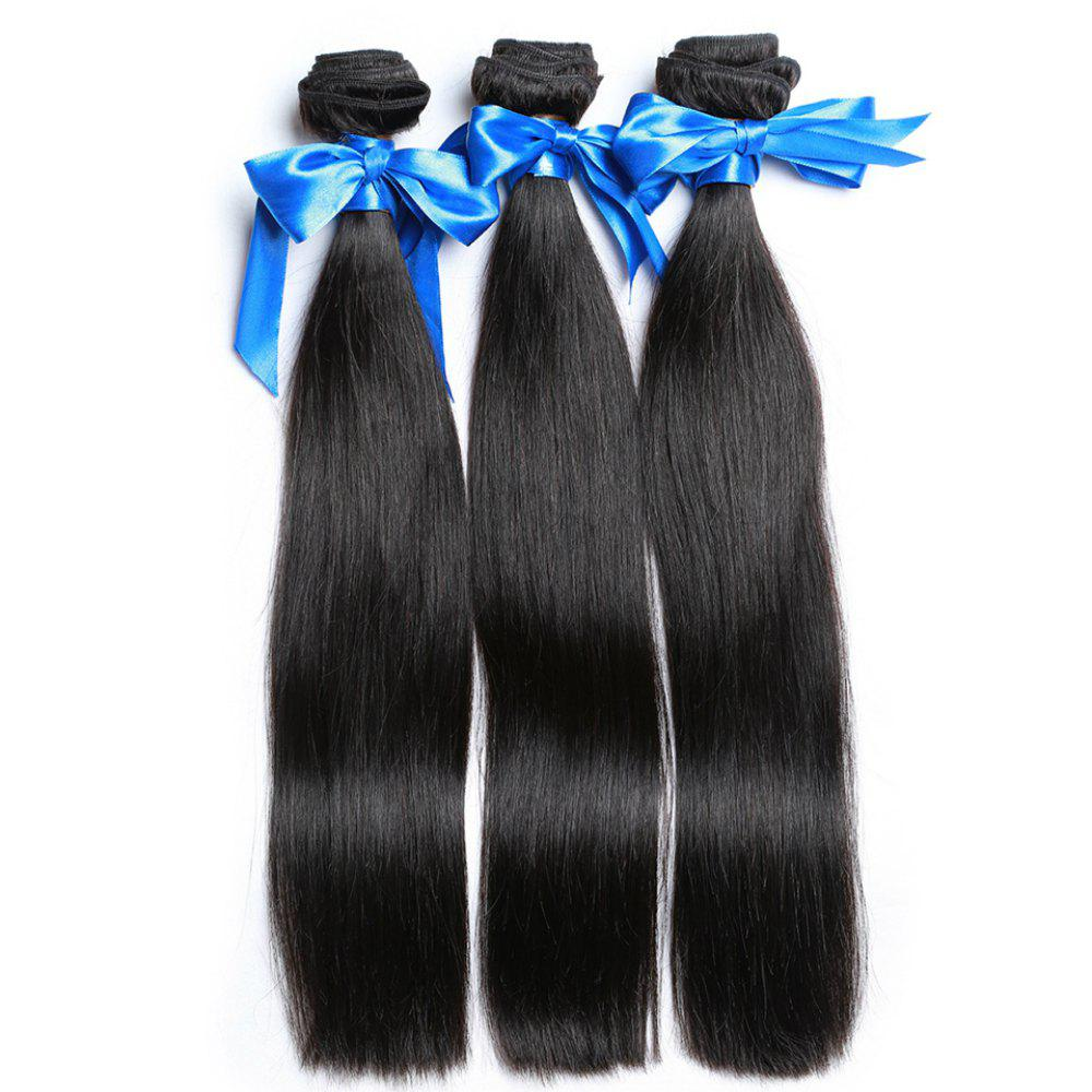 2 Bundle Unprocessed Virgin Indian Straight Human Hair Weaves - Natural Black - NATURAL BLACK 10INCH*12INCH