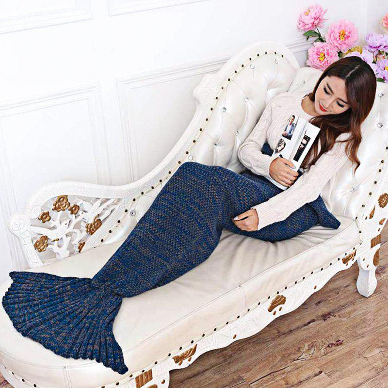 Cozy Cotton-Knit Mermaid Tail Blanket - BLUE