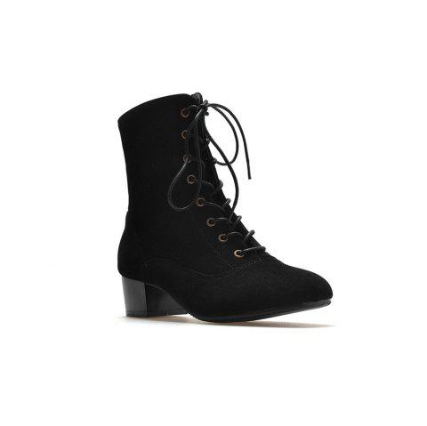 Miss Shoe B05 New Style Square Head Show Thin Boots with Short Boots - BLACK 35
