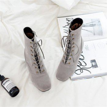 Miss Shoe B05 New Style Square Head Show Thin Boots with Short Boots - GRAY 44